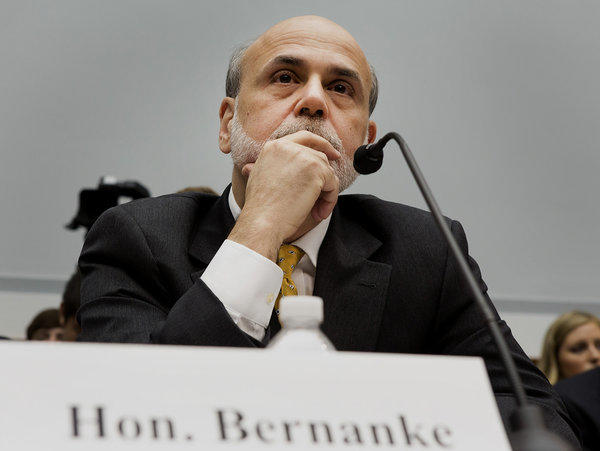 Fed Chairman Ben Bernanke before a congressional committee Wednesday.