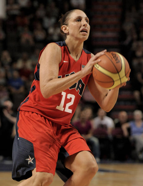 United States guard Diana Tauasi (12) during the 2012 London Olympic Games warm-up game at the Manchester Evening News Arena.