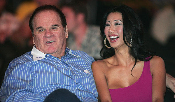 Pete Rose and his fiancee, Kiana Kim.