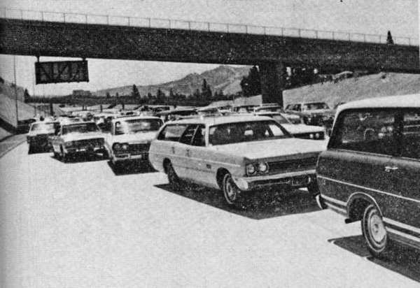 Cars line up on July 17, 1972 to be the first to traverse the 2.8-mile stretch of the new 210 (Foothill) Freeway, between Ocean View Boulevard and Lowell Avenue, following ribbon-cutting ceremonies. The portion of the freeway that was being built through La Canada wouldn't open until Nov. 30 of the same year.