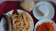 July 18 - Sausage with French fries, carrots and sugar cake