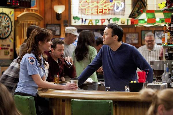 "Valerie Azlynn and Steve Byrne star in ""Sullivan & Son."" ""Pilot"" TBS Ph: Danny Feld"