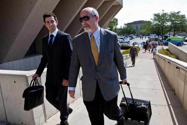 Joel Brodsky, an attorney of Drew Peterson arrives at  Will County Courthouse for final status hearing on Wednesday.