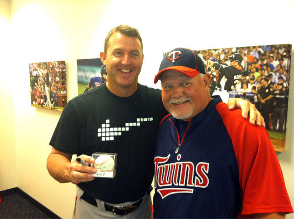Twins manager Ron Gardenhire finally relented and gave Jim Thome the ball from his 607th career homer.