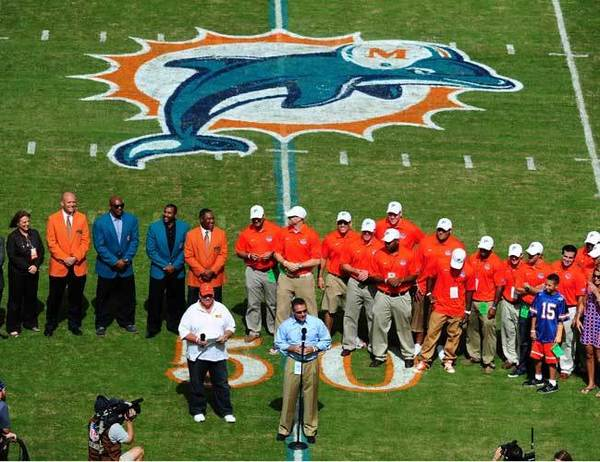 Aug. 29, 2011: During a preseason game against Tampa Bay, Dolphins CEO Mike Dee and VP/Special Adviser Nat Moore, a Florida grad, announced the team would honor the 2009 National Champion Florida Gators at Sun Life Stadium. The well-meaning idea was met with outrage by fans of Miami's pro and college football teams. Dolphins' fans hated it because the team was waiting for Tim Tebow to come to town with the Broncos to hold the event. Hurricanes fans hated it because the Gators were to be honored on the `Canes' home field.