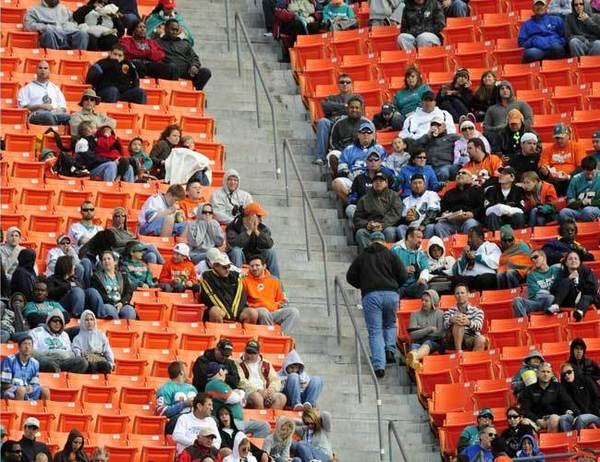 As the Dolphins plodded through their third straight losing season in 2011, it became more and more difficult to sell tickets. The Dolphins' streak of regular season televised games remains at 108 and counting, but only because the team, sponsors and local television stations bought thousands of unsold tickets to ensure there would be no blackouts.