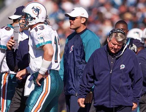 Did the Dolphins downturn begin on this day -- Jan. 15, 2000 -- Jimmy Johnson, Dan Marino and the Dolphins had no answers against Tom Coughlin and the Jaguars. The worst playoff loss in franchise history would also mark the end of the Jimmy Johnson era with the Dolphins. Johnson, who won titles with the Miami Hurricanes and Super Bowls with the Dallas Cowboys, could not capture the same magic with the Dolphins. Just hours after this game ended, he was gone.