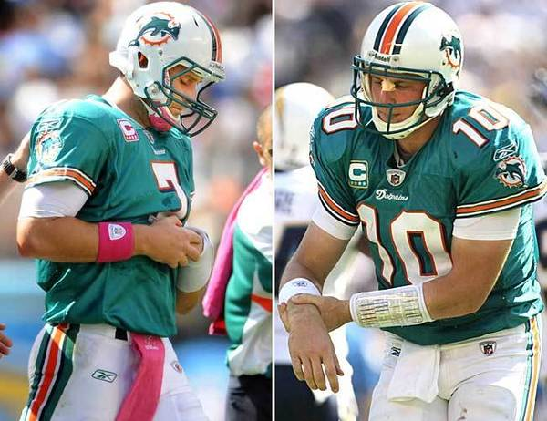 Bill Parcells drafted Chad Pennington in 2000 out of Marshall and grabbed him again when the Jets cut him loose in favor of Brett Favre in 2008. It was a gift. Pennington lead Miami to an 11-5 record and an AFC East title. The Dolphins appeared to have found a franchise quarterback until Pennington injured his throwing shoulder in 2009. Enter Chad Henne. The second-round pick out of Michigan was the heir apparent, but proved to be inconsistent and ineffective. Re-enter Pennington, who was named the starter for a Nov. 14, 2009 game against Tennessee. Pennington lasted two plays before injuring his shoulder again. Henne also was injured in that game, which the Dolphins won behind Tyler Thigpen. Pennington has yet to formally retire. Henne is now with Jacksonville. Thigpen is in Buffalo.