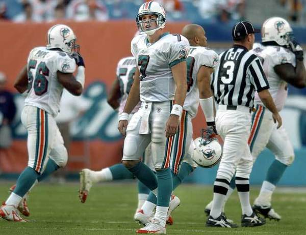 March 3: 2003: In search of stability at quarterback, the Dolphins sent their 2005 second-round pick to Philadelphia for A.J. Feeley. He was 3-5 in eight starts during his single season in Miami and threw more interceptions (15) than touchdowns (11).