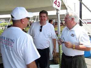 Prospective Republican gubernatorial candidates Blaine Young, center, president of the Frederick County Board of Commissioners, and Larry Hogan, right, former appointments secretary to Gov. Robert L. Ehrlich Jr., talk with Washington County Commission President Terry Baker at the Tawes crab festival in Crisfield.