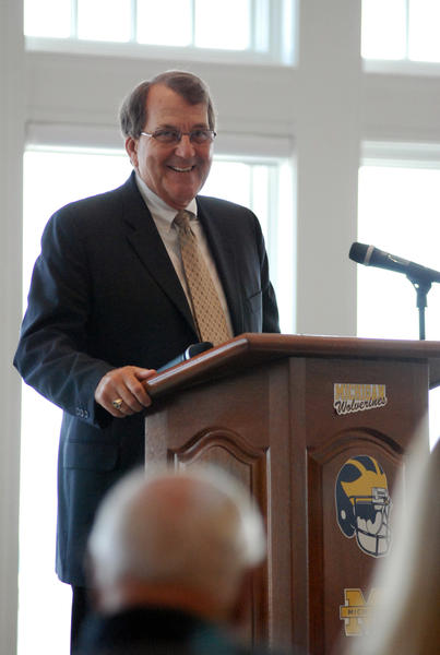 Former University of Michigan head football coach Lloyd Carr smiles during his speech at the first Bay Harbor Breakfast Wednesday at the Bay Harbor Yacht Clubs Lange Center. Carr coached the Wolverines from 1995-2007 and compiled a 122-40 career record.