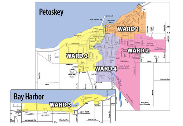 This map shows the boundaries of Petoskey's city wards
