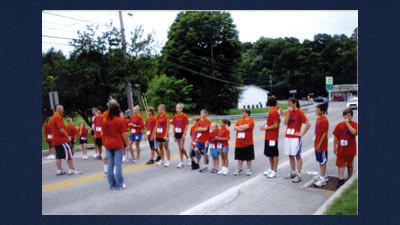 Runners line up in Central City for the annual Heritage Day 2K run for young people at last year's event.
