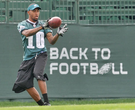 Wide Receiver DeSean Jackson catches a ball before the start of Eagles Training Camp at Lehigh University on Wednesday.