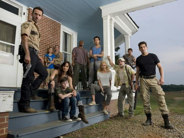 "Andrew Lincoln, Madison Lintz, Melissa Suzanne McBride, Sarah Wayne Callies, Chandler Riggs, Robert 'IronE' Singleton, Steven Yeun, Laurie Holden, Jeffrey DeMunn, Norman Reedus and Jon Bernthal of AMC's ""The Walking Dead."""