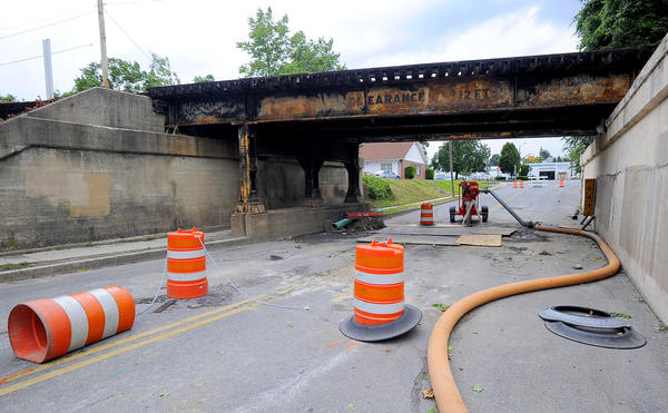 Work continues on the drainage pipe below the West Memorial Boulevard railroad underpass and all along Memorial Boulevard from Maryland Avenue to Eastern Boulevard.