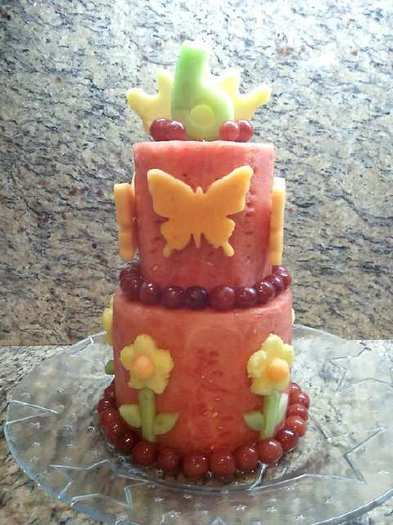 A fruit cake that Monica Serratos made for her daughter's birthday.