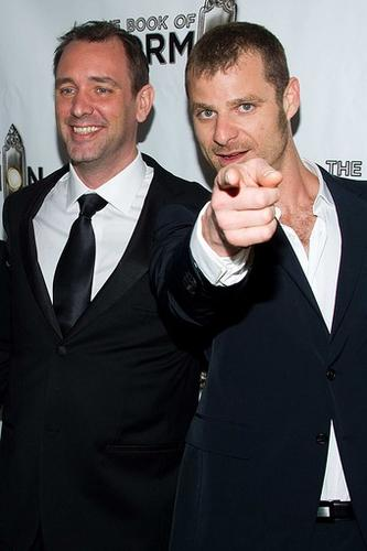 """""""South Park"""" creators and """"The Book of Mormon"""" writers Trey Parker, left, and Matt Stone at the New York premiere of their <a href=""""http://latimesblogs.latimes.com/culturemonster/2011/03/theater-review-the-book-of-mormon-at-the-eugene-oneill-theatre.html"""">missionaries-in-training musical</a> at the Eugene O'Neill Theatre."""