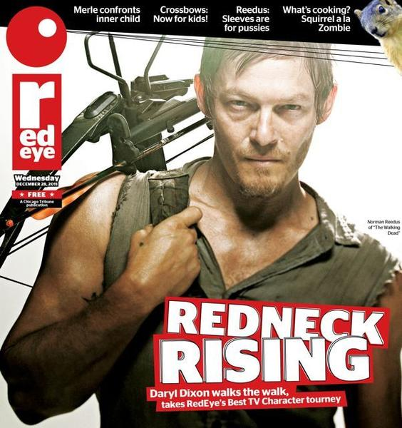 This mock RedEye cover was made as the trophy for Daryl Dixon (Norman Reedus) winning RedEye's 2011 Best TV Character Tournament.