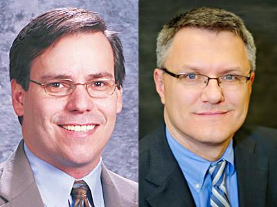 Incumbent John Jarema (left) and challenger Allen Telgenhof