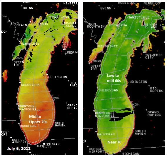 The image on the left was taken July 6. Most of the southern Lake Michigan had warmed into the 70s. The image at right was taken July 6, 2011, and shows surface temperatures about 5 to 10 degrees cooler.