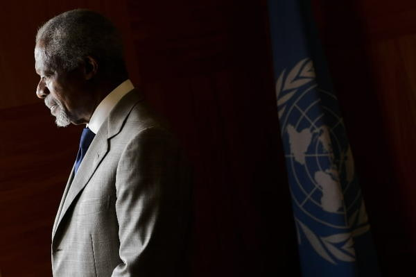 "UN-Arab League envoy Kofi Annan looks on before a meeting at his office at the United Nations Offices in Geneva on July 20, 2012. UN-Arab League envoy Kofi Annan is ""disappointed"" at the UN Security Council's failure to press for an end of the Syria conflict, his spokesman said after Russia and China vetoed a resolution proposing sanctions against the government."