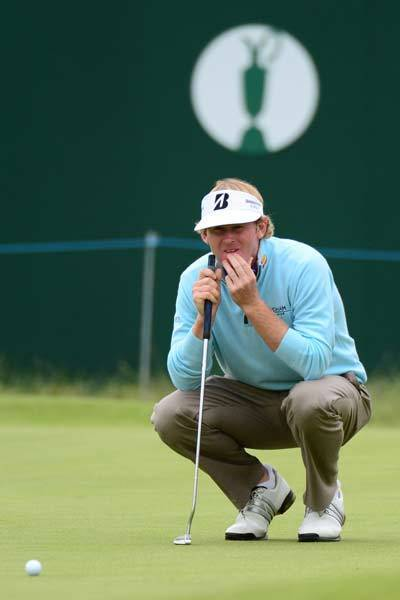 Brandt Snedeker lines up his putt on the 18th hole during the second round of the 2012 British Open Championship at Royal Lytham & St. Annes Golf Club.