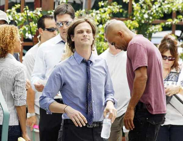 Matthew Gray Gubler, who plays Spencer Reid on the crime drama Criminal Minds moments before acting a scene in front of the Glendale Police Department. Three locations in Glendale, including City Hall, the Police Department and Perkins Plaza behind City Hall. This episode will air on October 10, 2012.