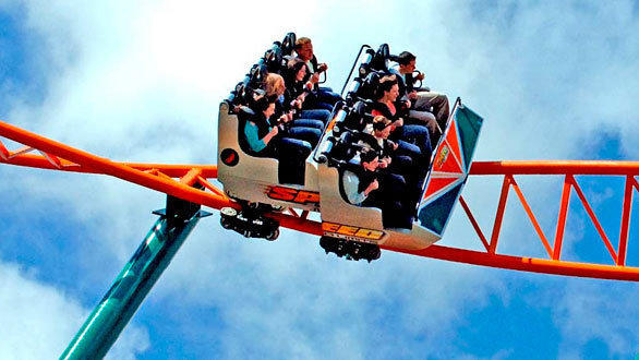 Speed: No Limits looping steel coaster at Oakwood theme park.