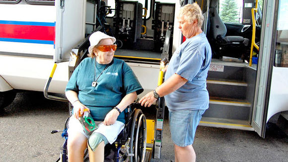 Joan Shaw (l) takes the Tuesday Shopping Day bus from Alten Zimmer every week, driven by bus driver Nadia Kidder.