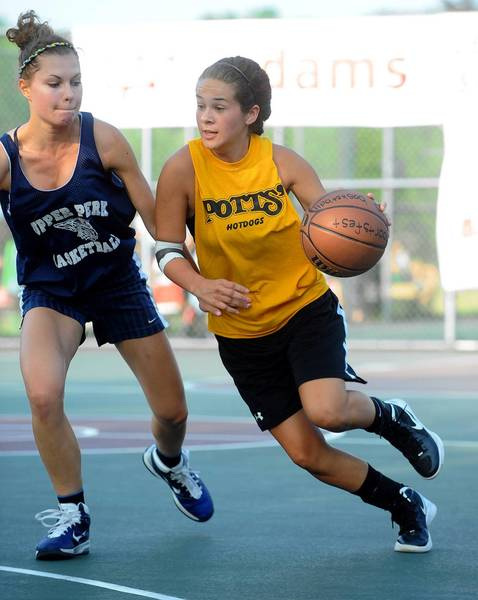 Freedom's Kelley Rosete tries to get past Upper Perkiomen's Kim Kachmar in first night action in the SportsFest basketball tournament at Cedar Beach in Allentown on Thursday.