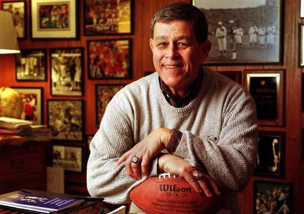 "Jerry Markbreit in his home in 1999. He says the NFL wanted him and eight other officiating trainers to train replacements for locked-out game officials, ""which we would absolutely not do."""