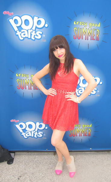 Carly Rae Jepsen poses at Kellogg's Pop Tart's Crazy Good Summer Concert series.