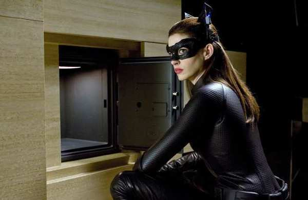 "Anne Hathaway as Selina Kyle/Catwoman in ""The Dark Knight Rises."""