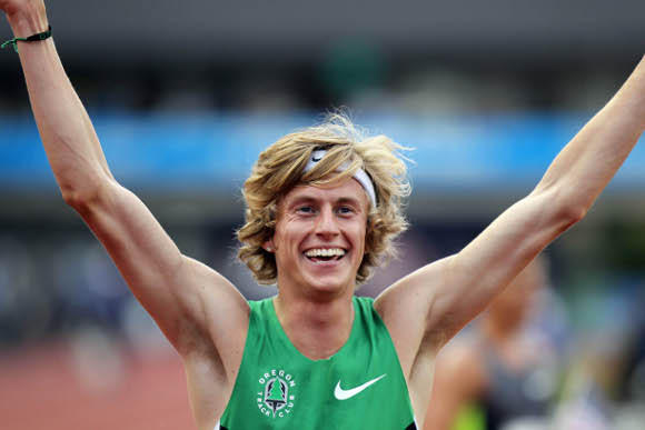 Evan Jager celebrating his win at the Olympic trials last month. He had more to celebrate Friday.