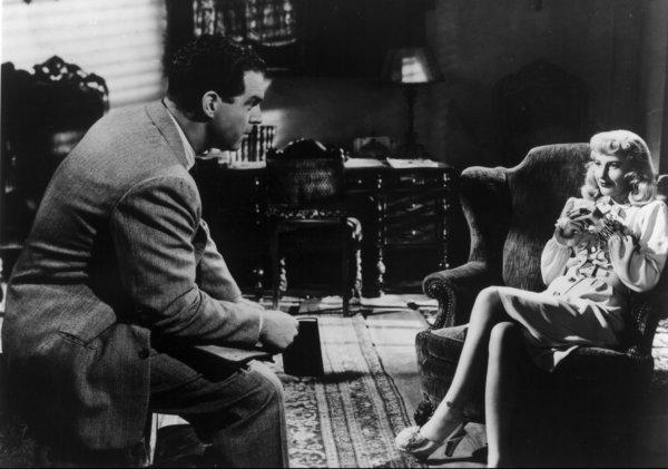 "A scene from ""Double Indemnity"" starring Fred MacMurray and Barbara Stanwyck"