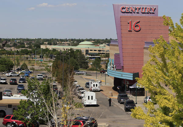 """An overhead view of activities at the Century 16 theatre east of the Aurora Mall in Aurora, Colo., on Friday, July 20, 2012. Authorities report that 12 died and more than three dozen people were shot during an assault at the theatre during a midnight premiere of """"The Dark Knight."""""""