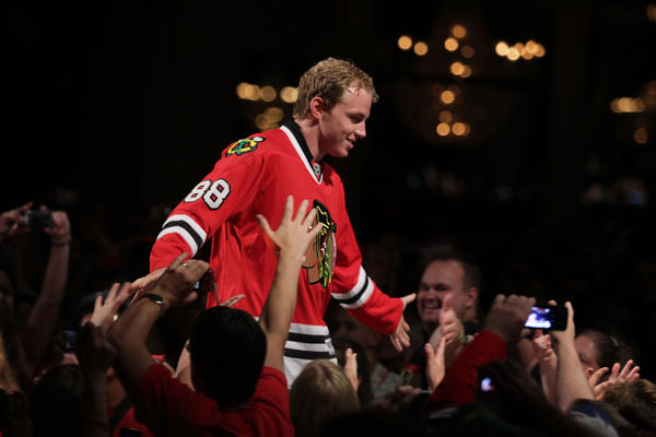 Patrick Kane is introduced during the start of the 2012 Blackhawks Convention.
