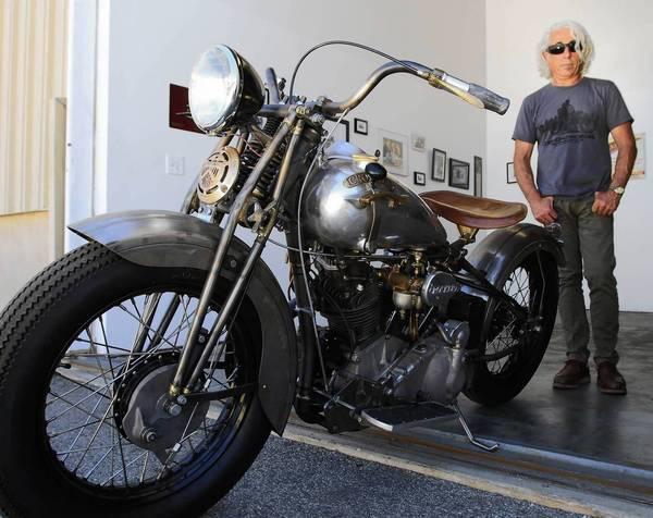 Michael Schacht, creator of the new Crocker motorcycle, at his office in Torrance.