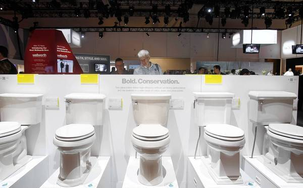 Droughts, a growing global population and concerns about the effect of climate change on the world's water resources have led to a surge of interest in making toilets more water efficient. Above, toilets on display at a trade show in Las Vegas.