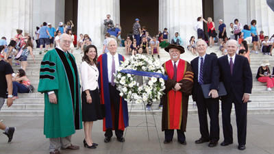 APLU President Peter McPherson, Monica Morrill, Librarian of Congress James Billington, Carnegie Corp. President Vartan Gregorian, National Academy of Sciences President Ralph Cicerone and Richard Riley  former secretary of education and governor of South Carolina  at a wreath-laying ceremony in Washington D.C.