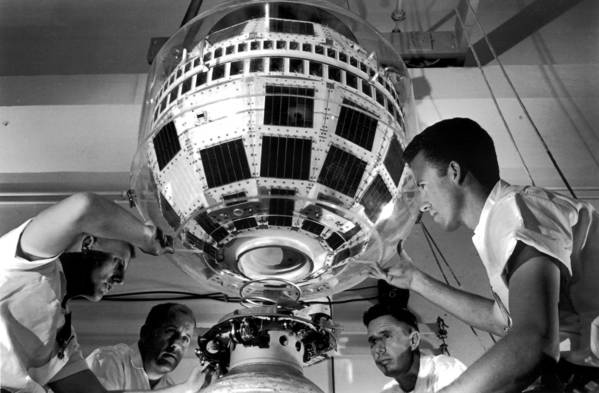 In 1962, technicians from Bell Labs mount Telstar 1 to a rocket, that would take the communications satellite into space. Monday marks the 50th anniversary of the Telstar launch.