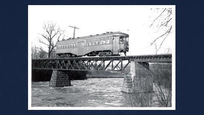 A West Penn Railways car crossing Loyalhanna Creek near Latrobe, Westmoreland County.