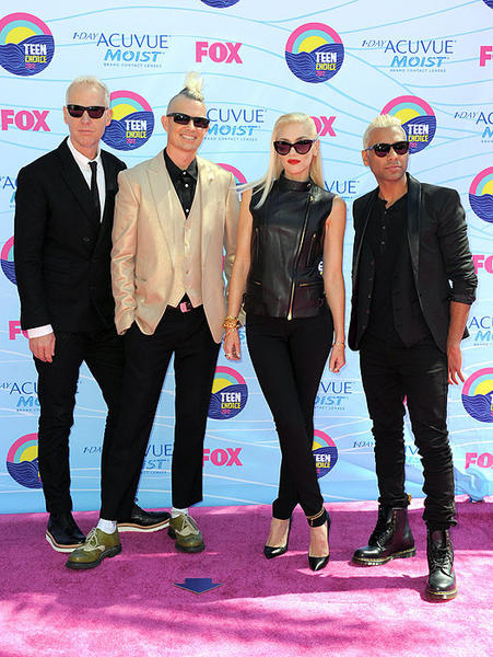 Tom Dumont, left, Adrian Young, Gwen Stefani and Tony Kanal of the band No Doubt.