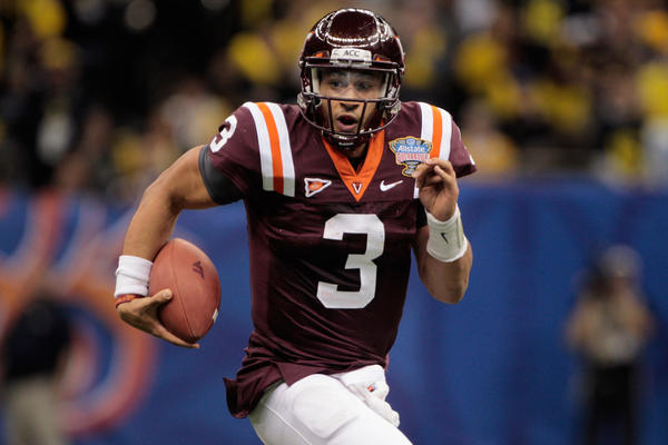 Logan Thomas #3 of the Virginia Tech Hokies runs with the ball against the Michigan Wolverines during the Allstate Sugar Bowl at Mercedes-Benz Superdome on January 3, 2012 in New Orleans, Louisiana.