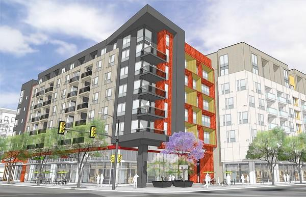 The planned seven-story complex in Little Tokyo will include apartments, town houses, shops and a public parking garage. It will have a pool, fitness club and rooftop outdoor deck. Above, an artist's rendering of the project.