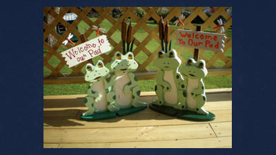 These friendly frogs are hand-made by Spring Illingworth. She and her husband, David, will feature their woodwork at this year's Art at Aurelia Festival in Addison.