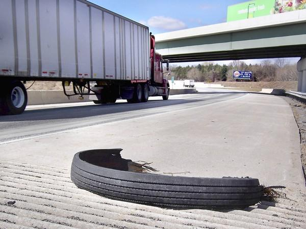 Torn tire treads such as this piece on Route 78 west, just east of the Route 22 overpass, can pose a threat to motorists coming along behind the vehicle that loses the tread, usually tractor-trailer rigs. Many truckers stop to remove the treads, but if not, PennDOT ultimately is responsible for doing so on interstates.