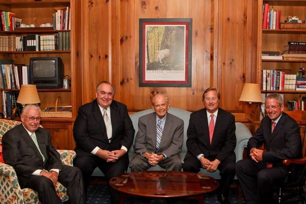 Courtesy photo/Grand Hotel R.D. Musser Jr. (left) and Dan Musser III (right) gather with former Michigan governors, (from left) John Engler, William Milliken and James Blanchard during the recent celebration of the Grand Hotel's 125th anniversary on Mackinac Island.