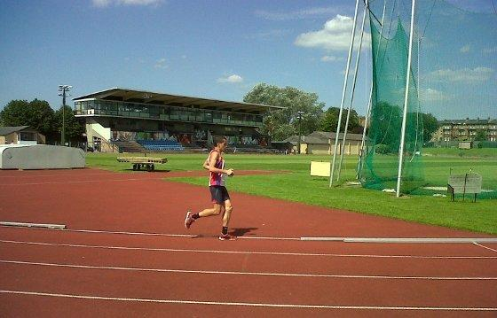 A jogger on the track at Iffley Road, site of the first 4-minute mile.  (Philip Hersh / Chicago Tribune)